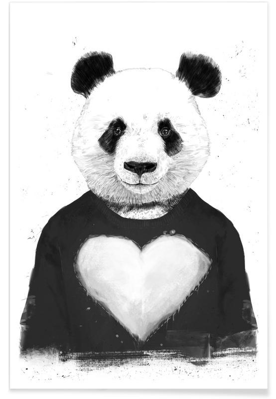 Zwart en wit, Panda's, Mooie panda - tekening poster