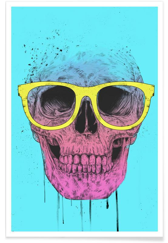 Pop Art Skull Drawing Poster