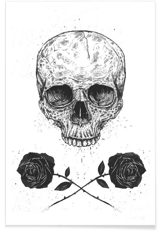 Crânes, Roses, Noir & blanc, Skull N' Roses affiche