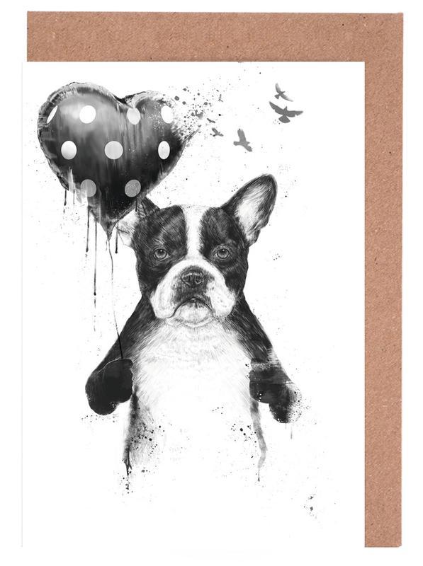 Geburtstage, Valentinstag, Hunde, My Heart Goes Boom -Grußkarten-Set