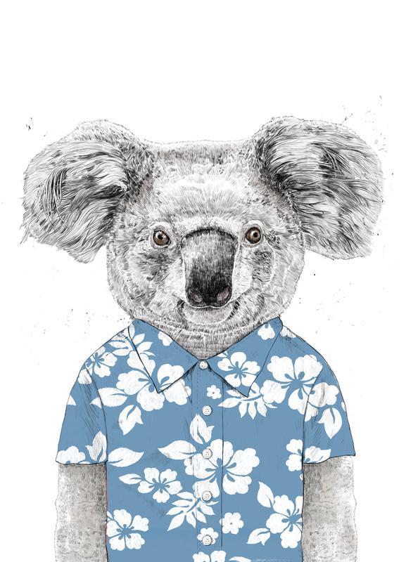 Summer Koala Blue canvas doek