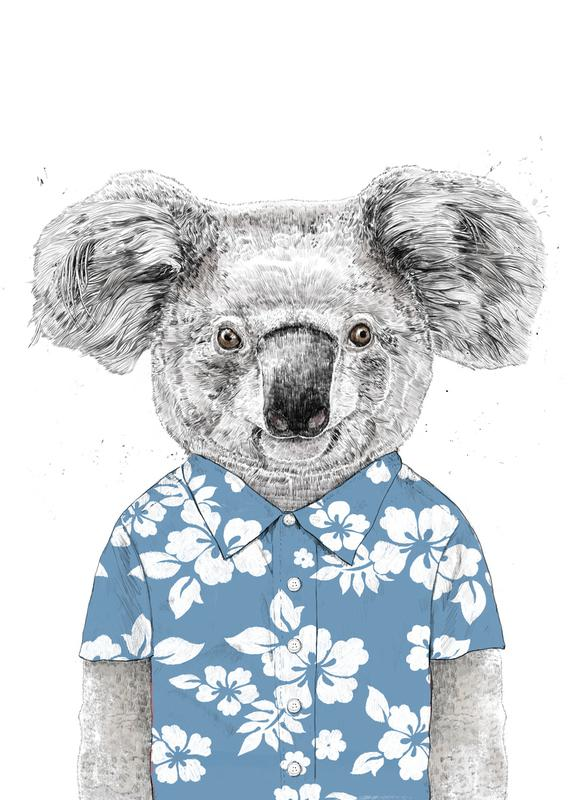 Summer Koala Blue toile