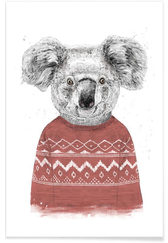 Koalas, Winter Koala Red Poster
