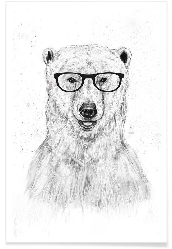 Art pour enfants, Ours, Noir & blanc, Geek Bear affiche