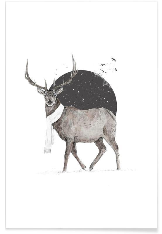 Cerfs, Noir & blanc, Winter Is All Around Color affiche