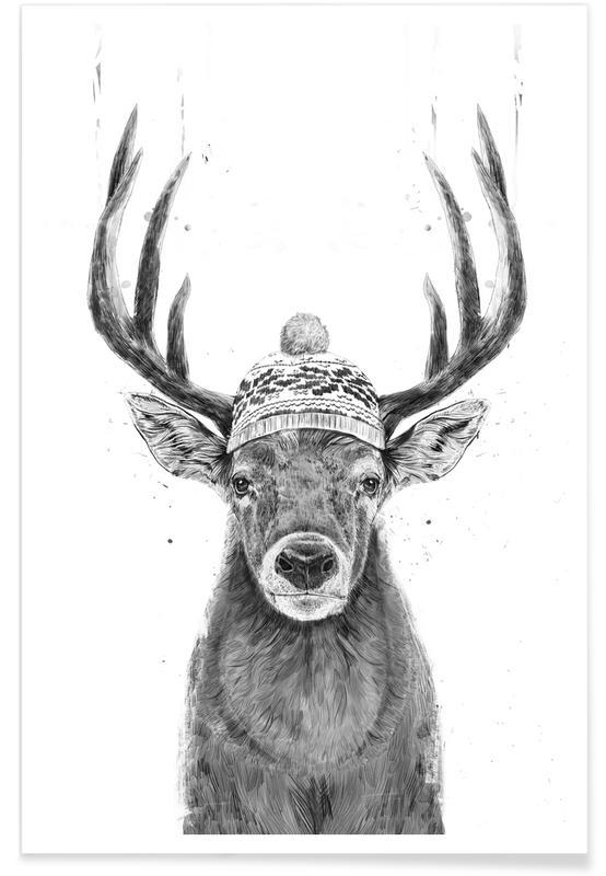 Deer, Black & White, Lets Go Outside (Bw) Poster