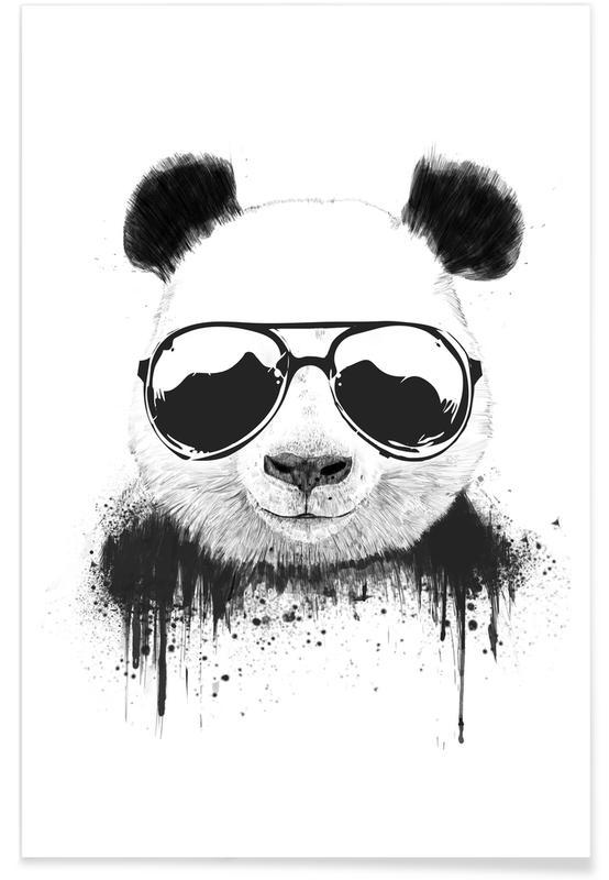 Humour, Noir & blanc, Pandas, Stay Cool affiche