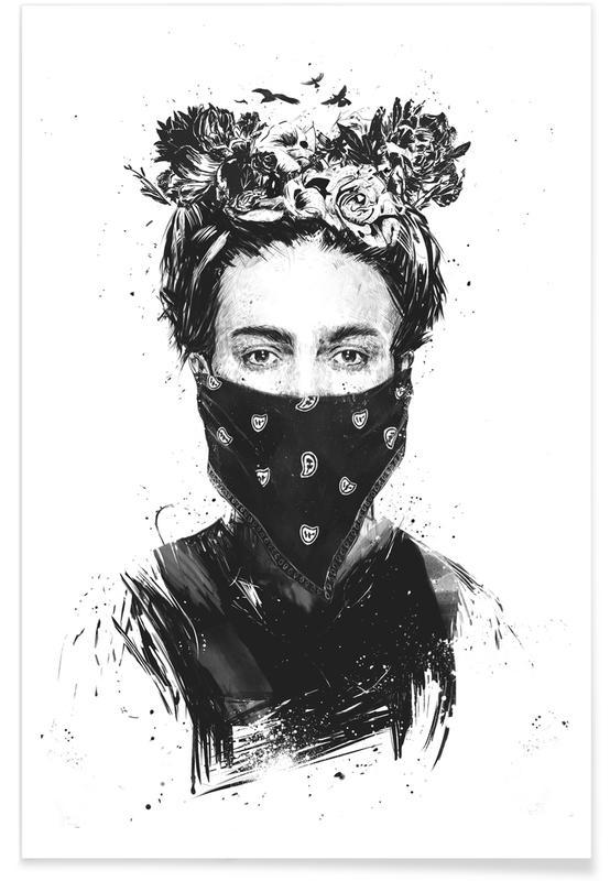 Noir & blanc, Frida Kahlo, Rebel Girl affiche