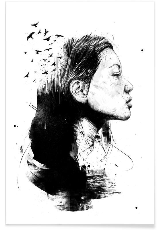 Zwart en wit, Open your mind poster