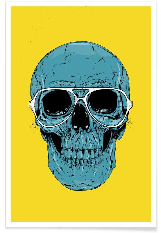Skulls, Blue skull Poster