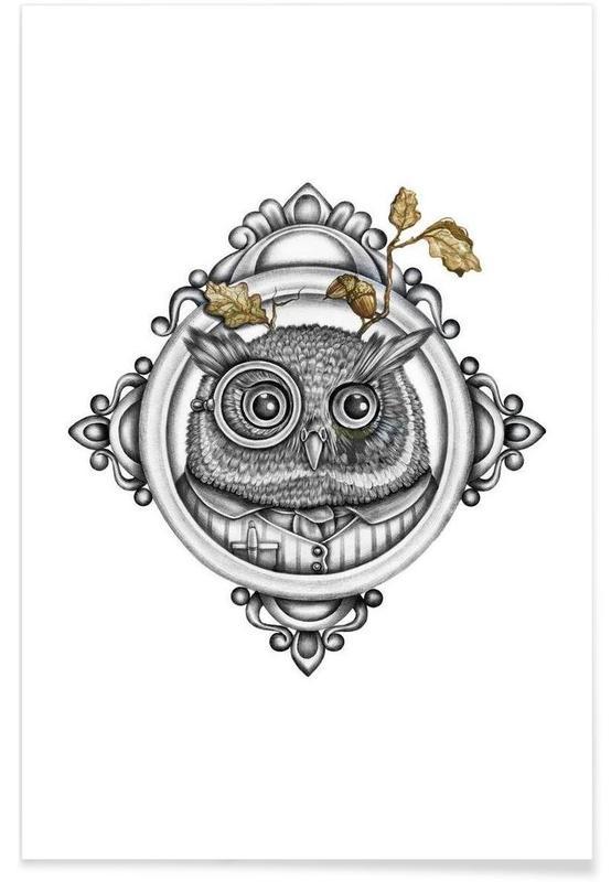Noir & blanc, Chouettes, Owl affiche