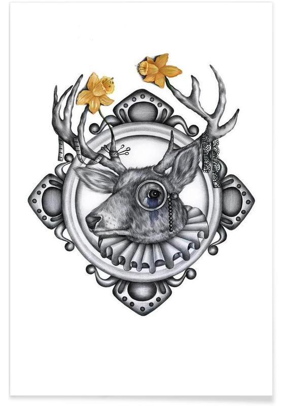Noir & blanc, Cerfs, Deer affiche