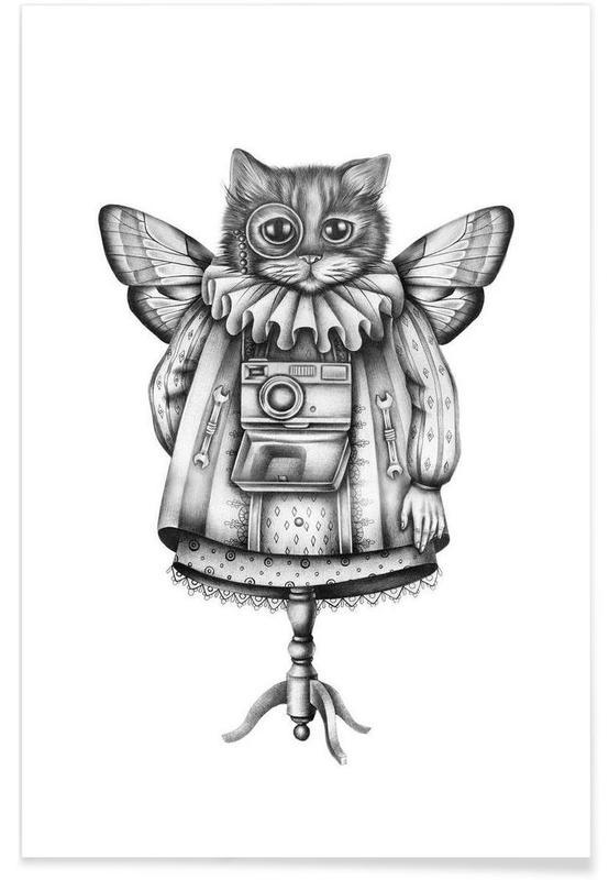 Black & White, Cat Poster