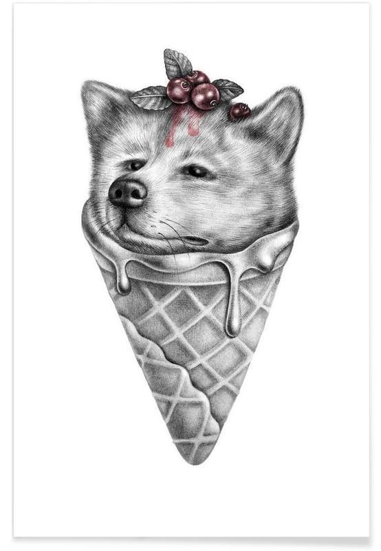 Noir & blanc, Chiens, Ice cream affiche