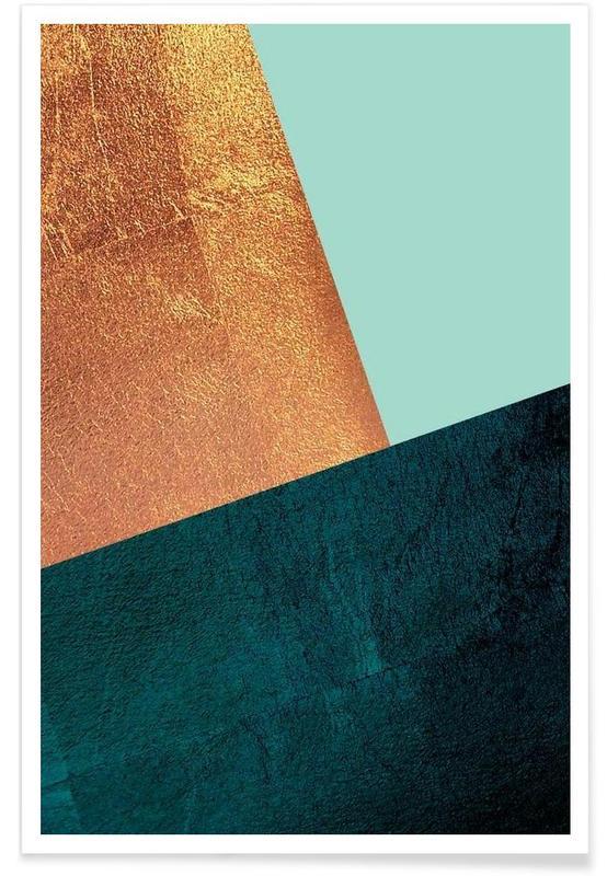 , Kupfer Aqua poster