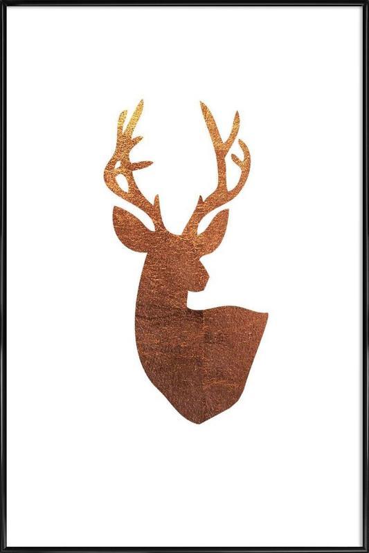Hirsch Kupfer -Bild mit Kunststoffrahmen