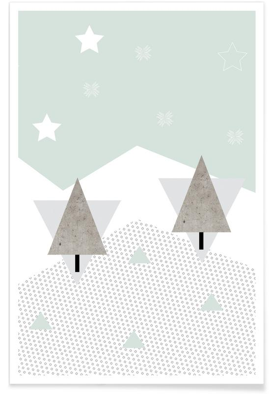 Kerst, Winter Trees poster