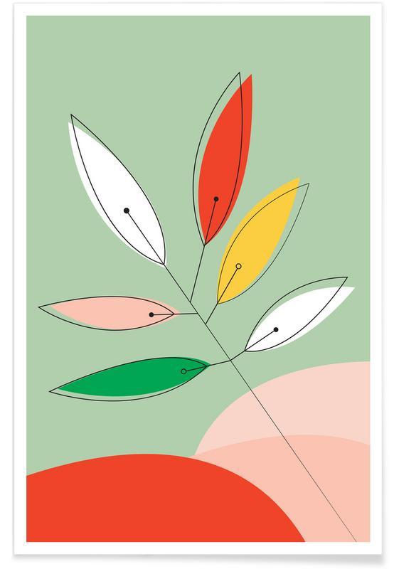 Bladeren en planten, Colorful Twig poster