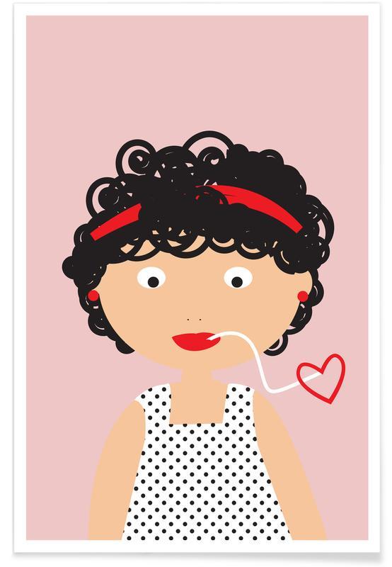Kunst voor kinderen, Portretten, Pasta Love poster