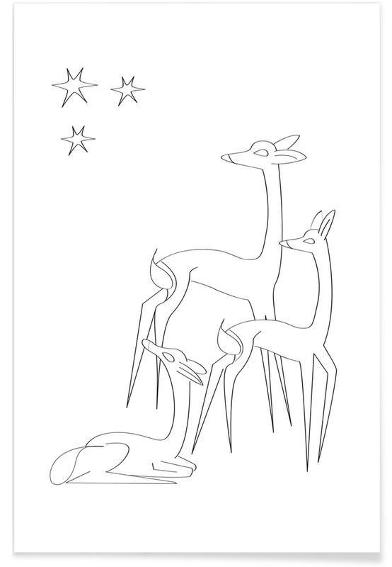 Cerfs, Art pour enfants, Noël, Holy Family 2 affiche