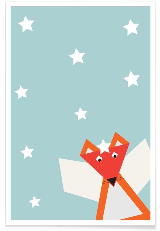 Kunst voor kinderen, Vossen, Kerst, Xmas Fox poster