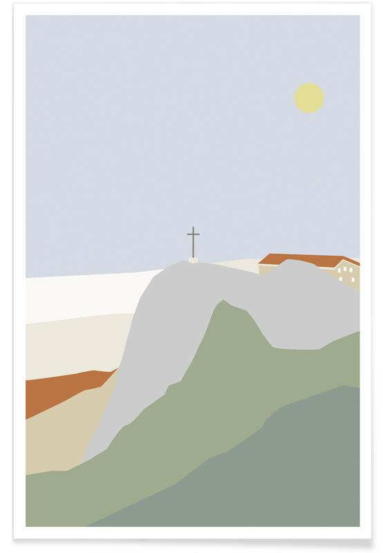Montagnes, Paysages abstraits, Hochfelln Mountain View affiche