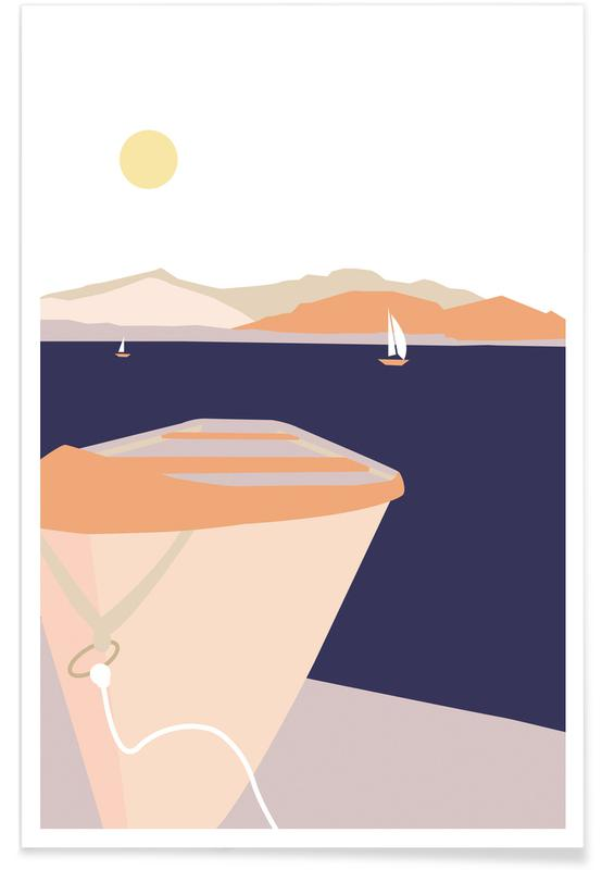 Abstract Landscapes, Lake Chiemsee Boat Poster