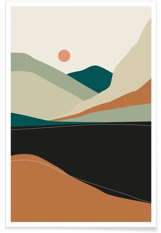 Montagnes, Paysages abstraits, Gebirgssee affiche