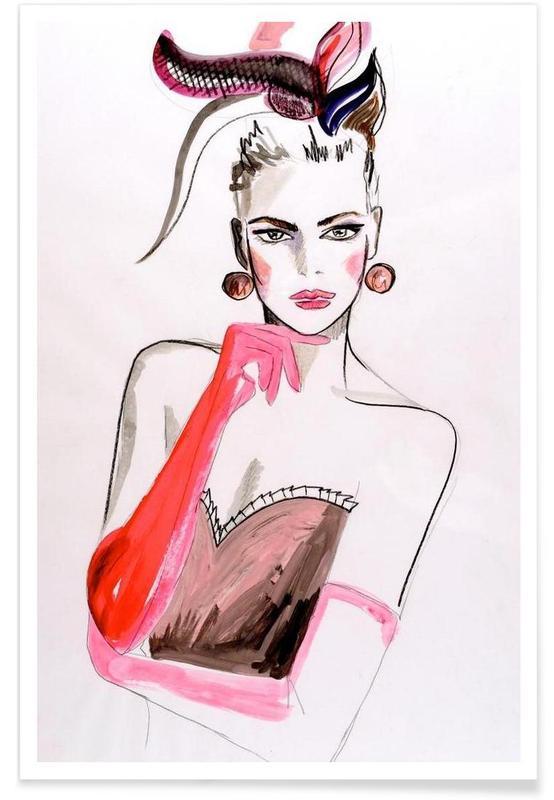 Illustrations de mode, Pink Punk affiche