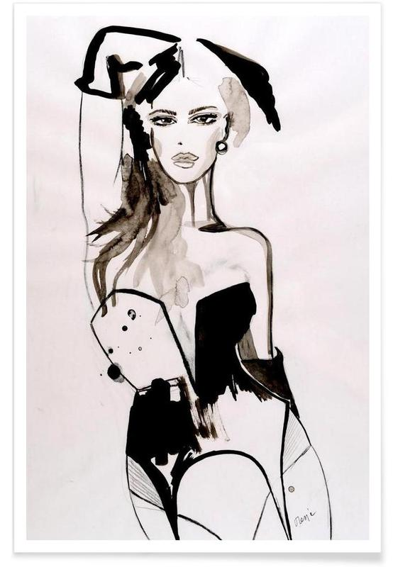 Fashion Illustrations, B&W Corset Poster
