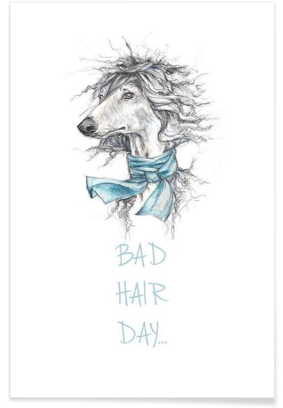 Noir & blanc, Chiens, Bad Hair Day affiche