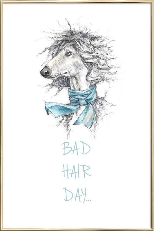Bad Hair Day Poster in Aluminium Frame