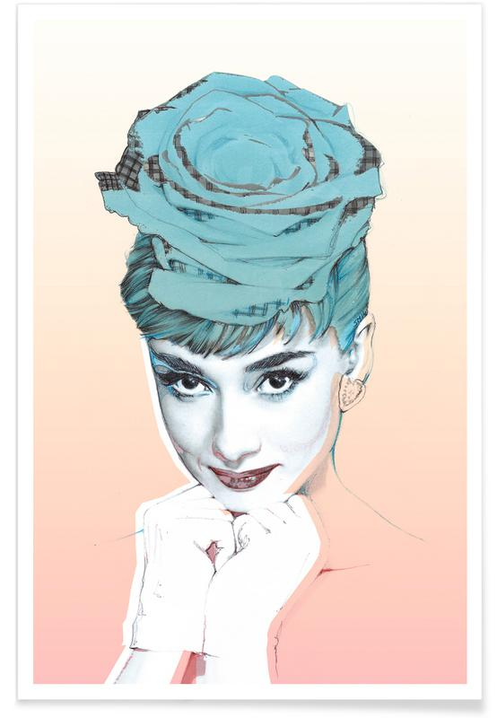 Rozen, Audrey Hepburn, Audrey Pink poster