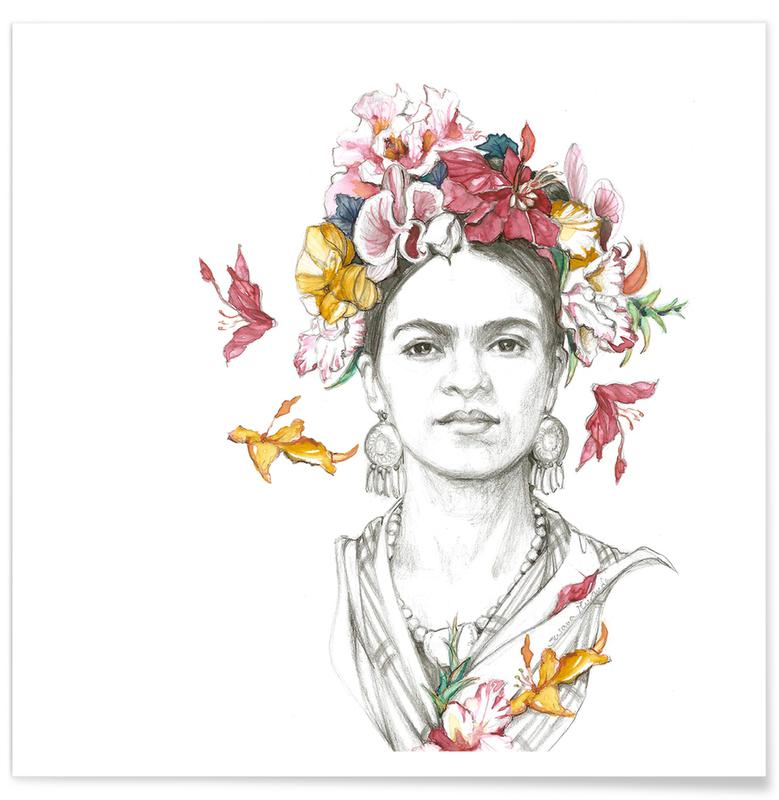 Frida Kahlo, Flowered Frida -Poster