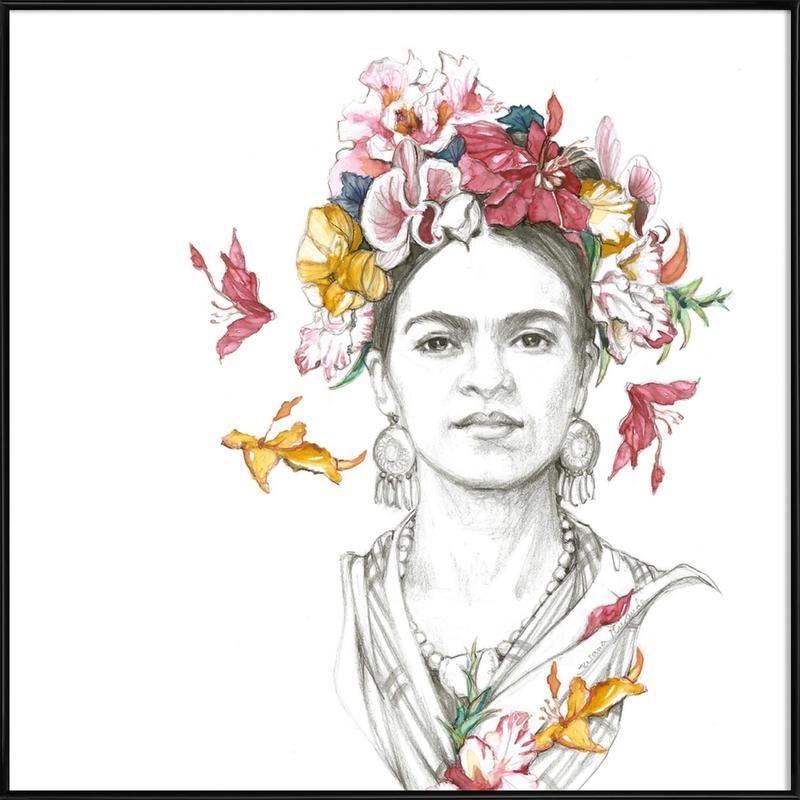 Flowered Frida affiche encadrée