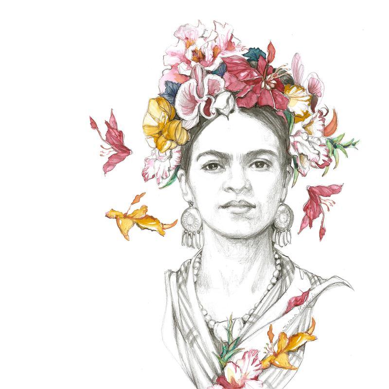Flowered Frida acrylglas print