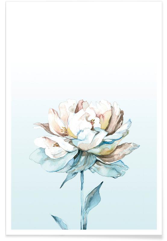, Blue Peony -Poster