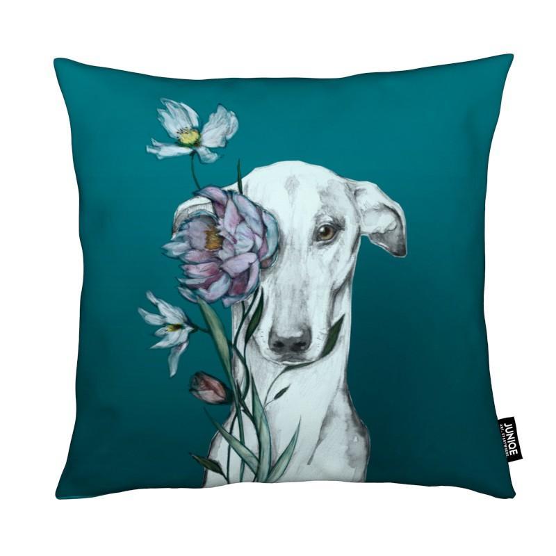 Chiens, Greyhound Floro Blue coussin