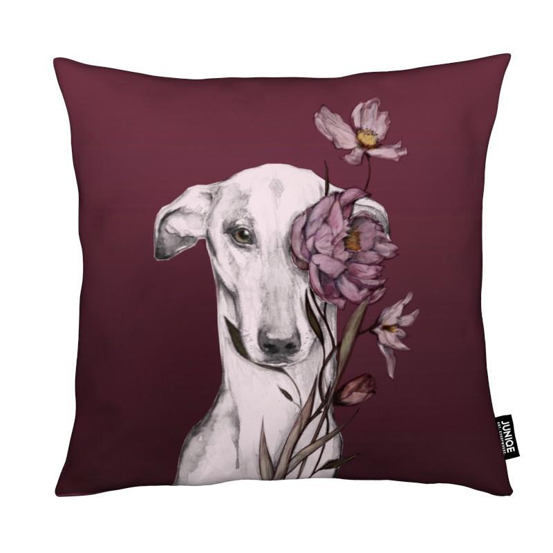 Chiens, Greyhound Floro Red coussin