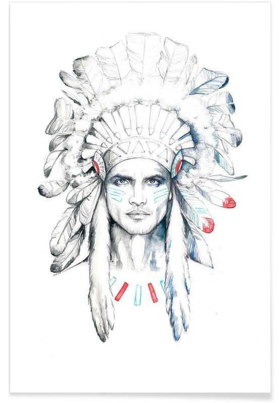 Portraits, Indian man affiche