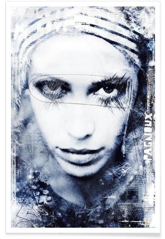 Black & White, Portraits, Clown Triste Poster
