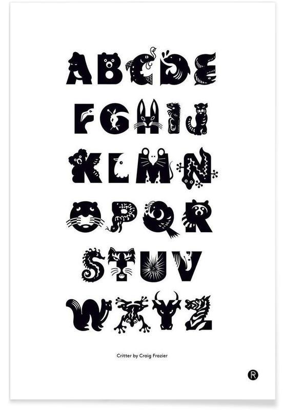 Alphabet et lettres, Noir & blanc, Critters affiche