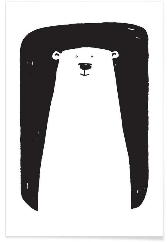 Art pour enfants, Ours, Noir & blanc, Bear affiche