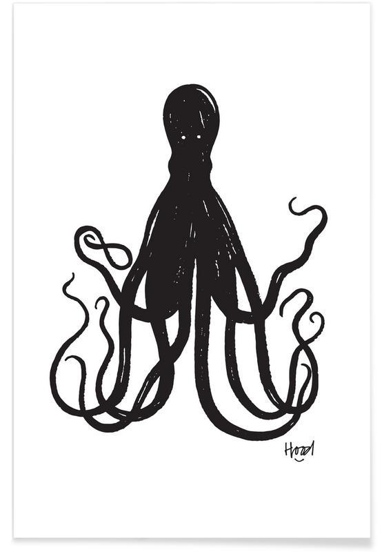 Sort & hvidt, Blæksprutter, Octuple Plakat