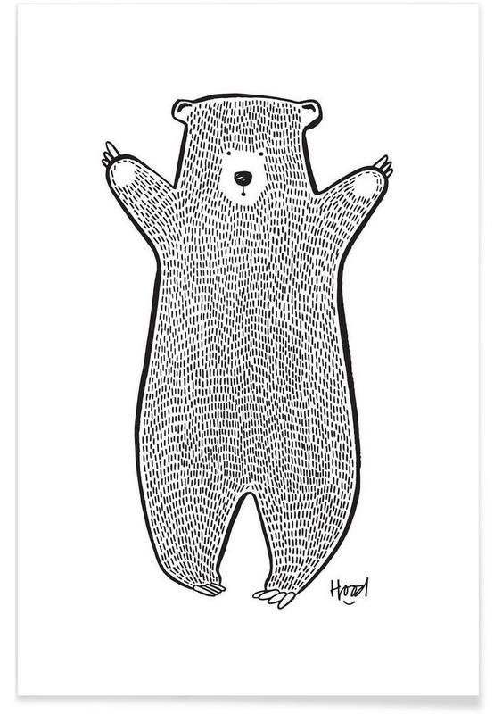 Nursery & Art for Kids, Bears, Black & White, Bear 2 Poster