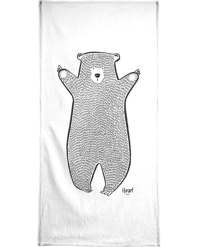 Zwart en wit, Beren, Kunst voor kinderen, Bear 2 handdoek