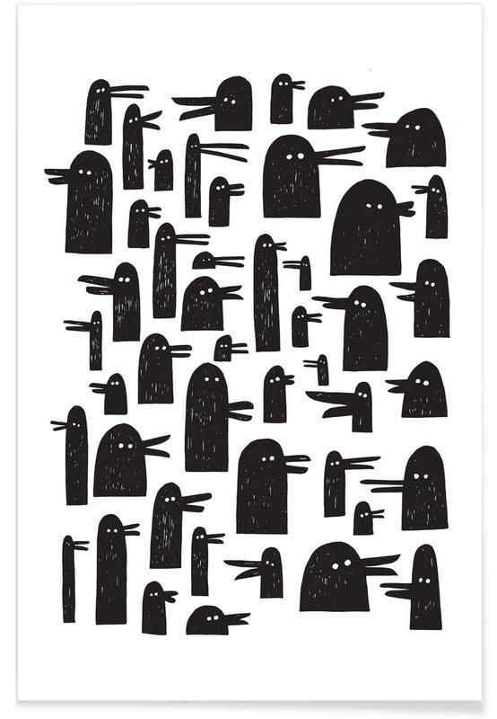 Schwarz & Weiß, Enten, Ducks -Poster
