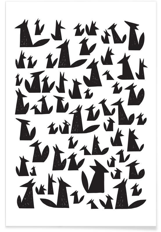 Art pour enfants, Renards, Noir & blanc, Foxes affiche