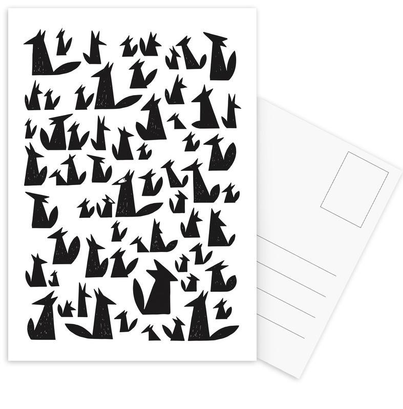 Noir & blanc, Renards, Art pour enfants, Foxes cartes postales