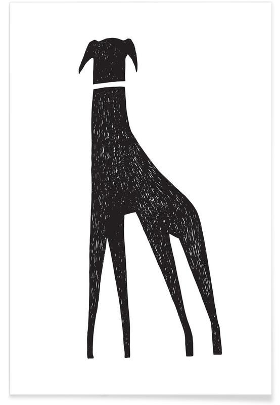 Zwart en wit, Kunst voor kinderen, Honden, Hound poster